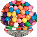 Photo of gumballs in a gumball machine