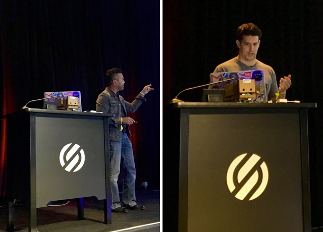 Photos of Willie Tejada and Michael Ludden presenting at Twilio Signal