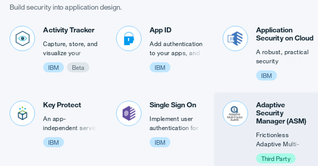 Security Services in the IBM Bluemix Catalog