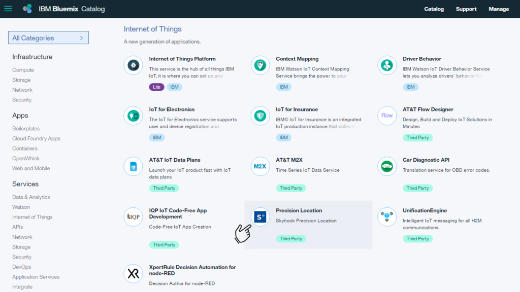 Screen shot of the Bluemix Console