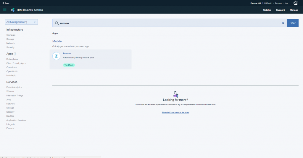 Screen shot of Zuznow listed in the Bluemix Catalog