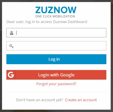 Screen shot of Log in to Zuznow Dashboard
