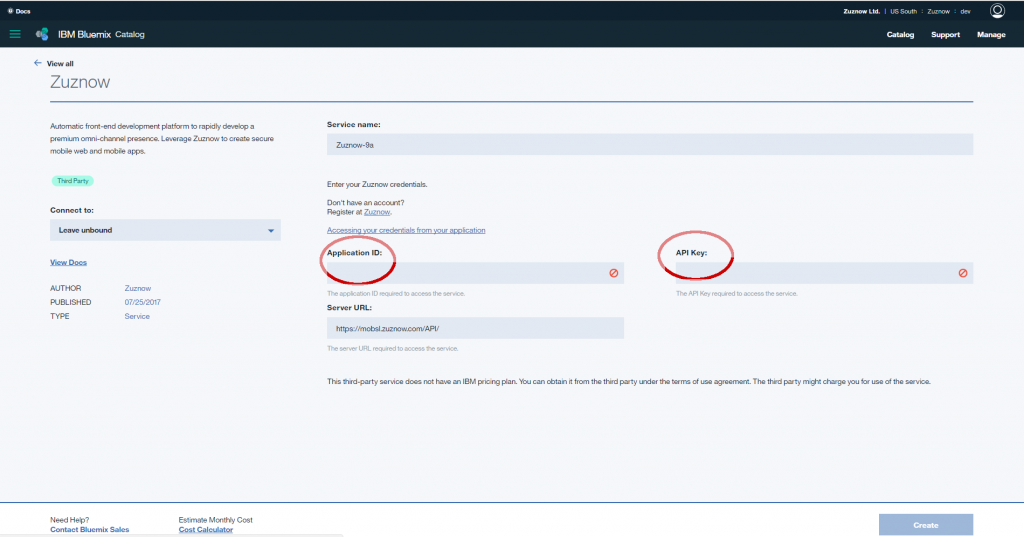 Screen shot of Zuznow service page on Bluemix console