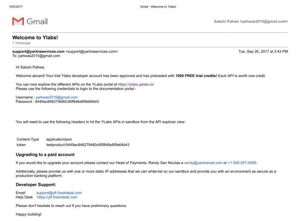 Screen shot of Welcome email from Yantra