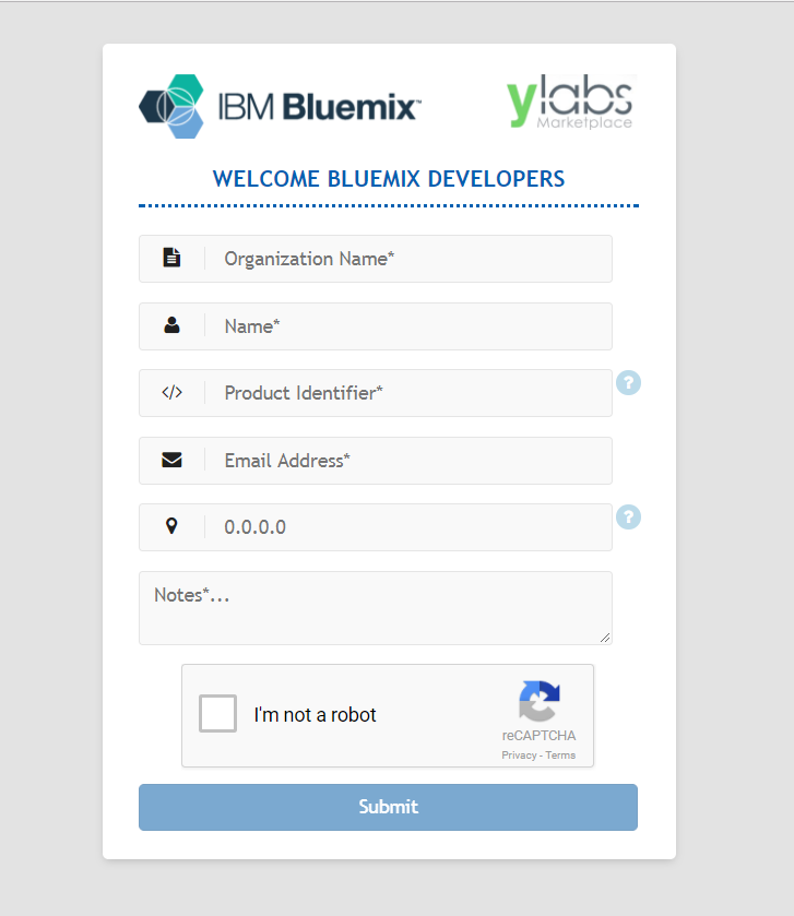 Ylabs sign up request page