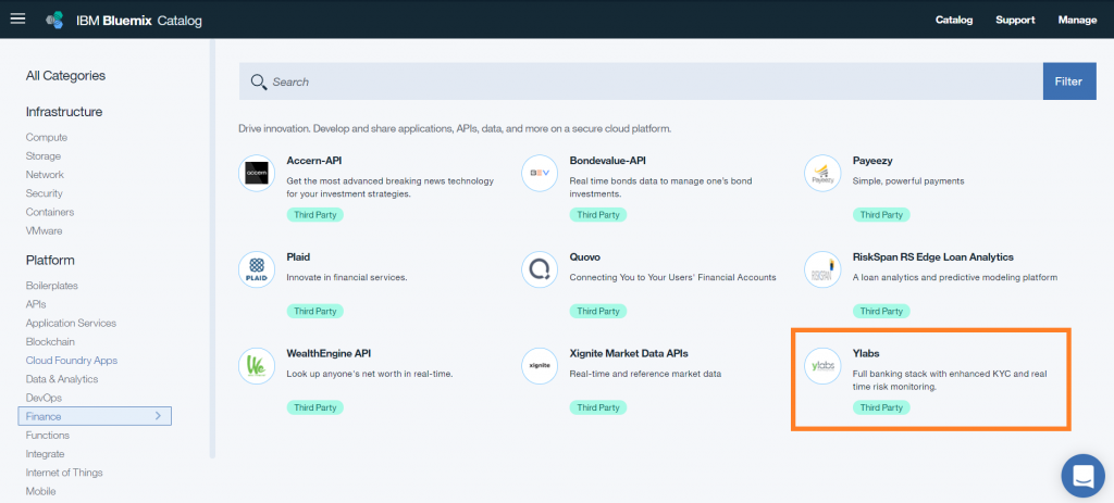 Screen shot of Ylabs tile in the Bluemix catalog