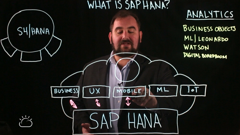 SAP HANA: Data sources - business, UI/UX, Mobile, Machine Learning, and IoT