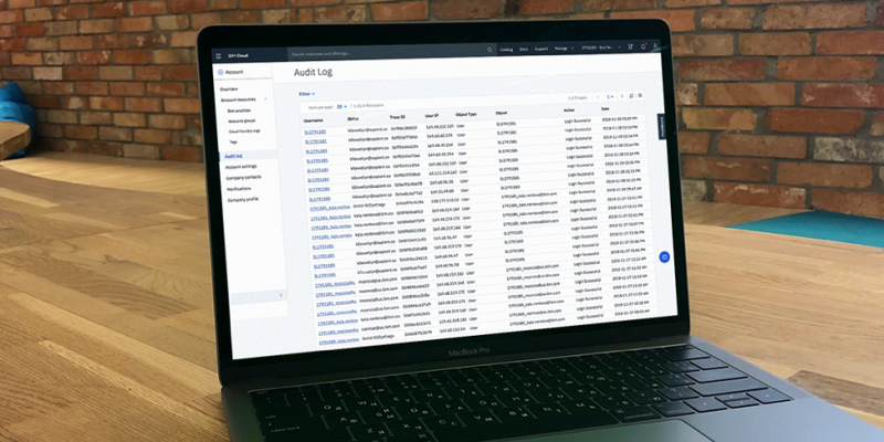 Image of the Audit log page in the IBM Cloud console