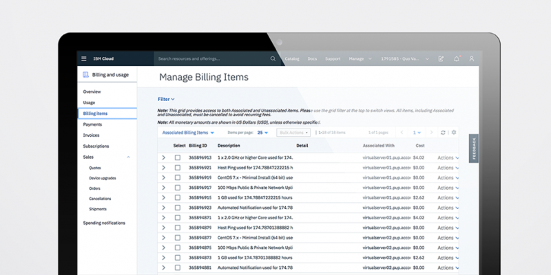 Image of the Billing page in the IBM Cloud console