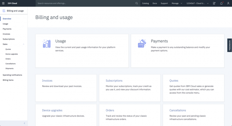 The IBM Cloud Billing and usage landing page