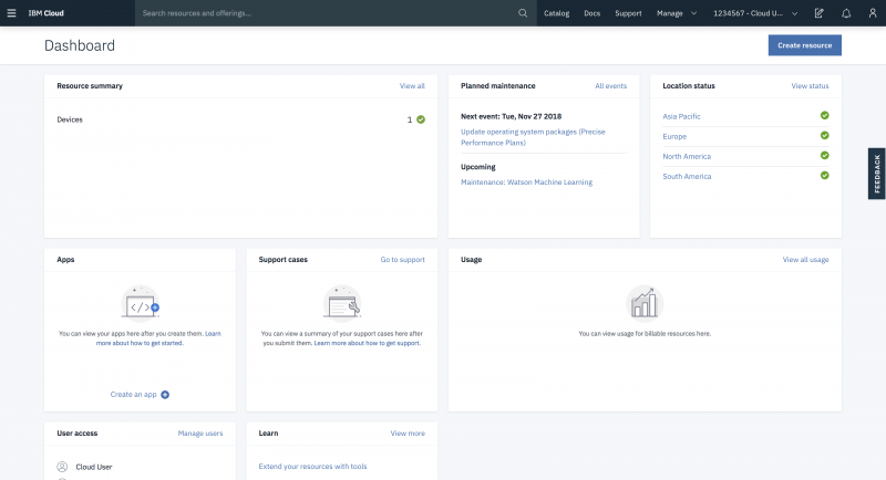 Screen capture of dashboard in IBM Cloud console