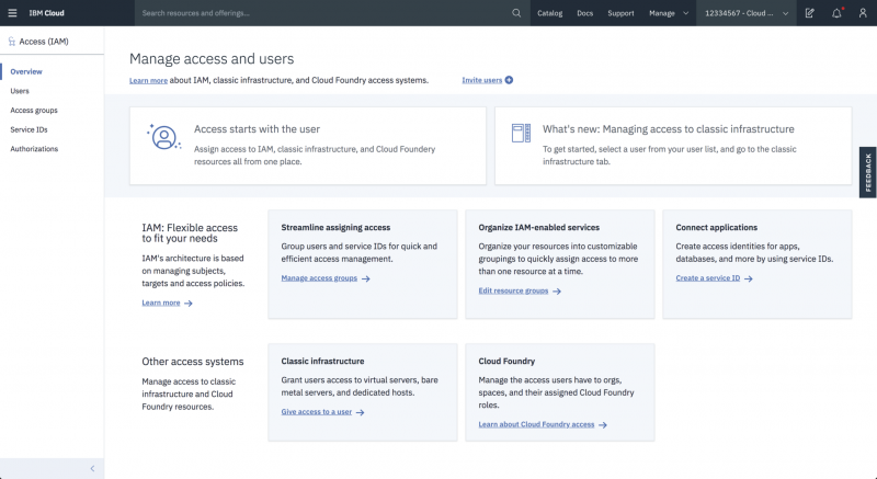Screen capture of the IBM Cloud IAM landing page