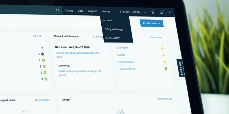 Image showing Manage menu items in the IBM Cloud console