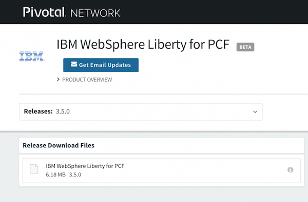 WebSphere Liberty Cloud Foundry buildpack on PivNet
