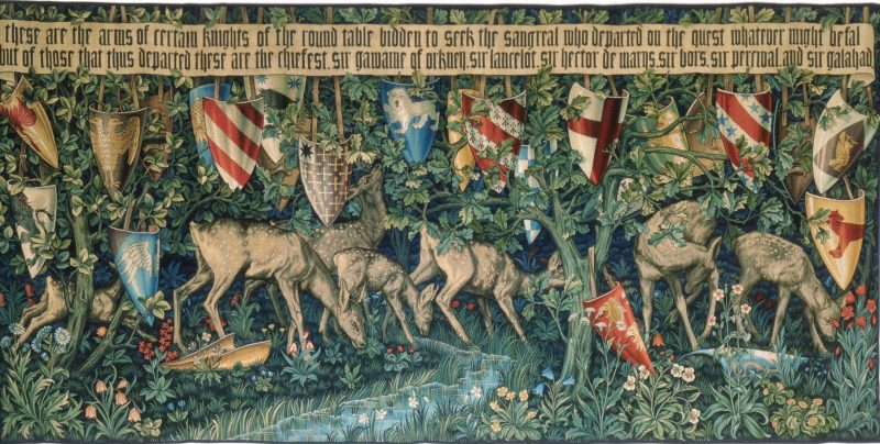 Tapestry showing the arms of knights