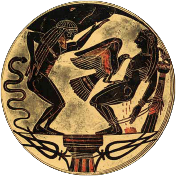 Laconic Kylix with Prometheus and Atlas.