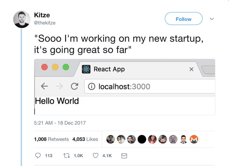 A tweet about localhost