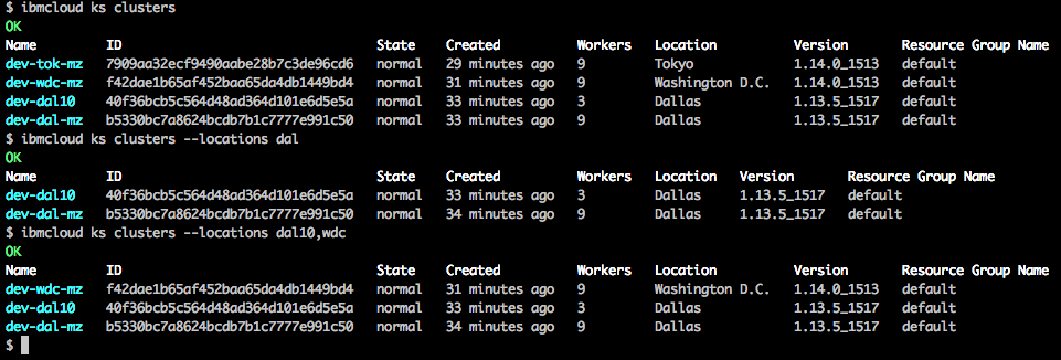 Examples of filtering cluster list output on the IBM Cloud Kubernetes command line