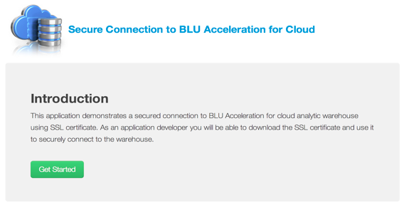 Secure Connection to BLU Acceleration for Cloud
