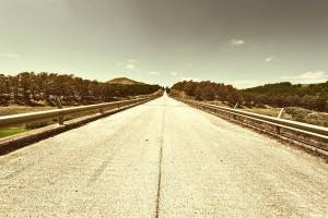 Straight Asphalt Road between Spring Forests of Sicily, Retro Image Filtered Style