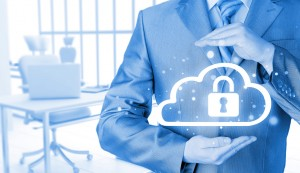 Protect cloud information data concept. Security and safety of cloud computing.