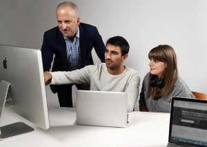 **COMMERCIAL IMAGE** In this photo taken by Feature Photo Service for IBM: Bitly CEO Mark Josephson, left, IBM Watson Offering Manager Reah Miyara and IBM Cloud Developer Krissi Xenakis use new IBM Cloud Object Storage to manage and access massive amounts of digital information across hybrid clouds, Thursday, October 13, 2016, NYC.
