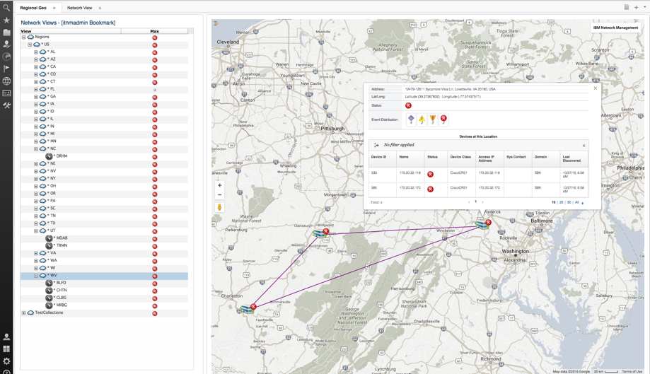 Figure 2: Shows site details, including event distribution details and all devices, at a specific location. The Network Views includes the map location hierarchy. The GIS map view can be launched at any point within this hierarchy.