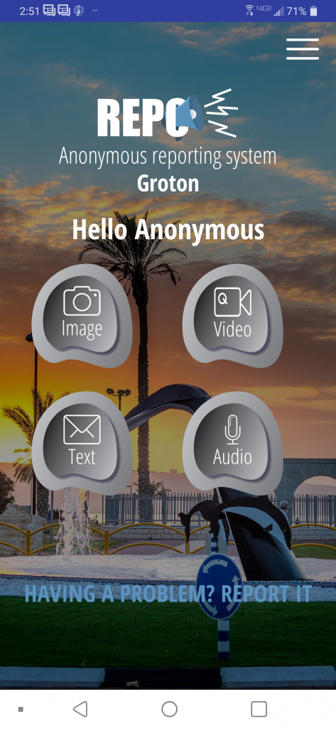 Repo Cyber anonymous reporting app screen shot