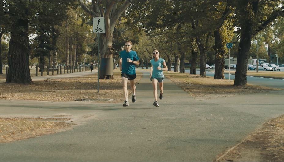Lisa and husband Lachie training for Rio