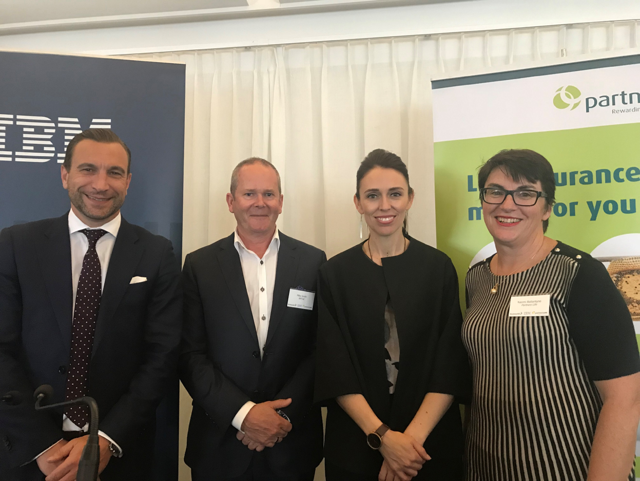From left to right: Kirk Hope, CEO BusinessNZ, Mike Smith, Jacinda Ardern, and Naomi Ballantyne, Managing Director from Partners Life.