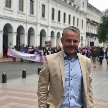 Stephen Lawrence in Cuenca at a march for women's rights on March 8, International Women's Day