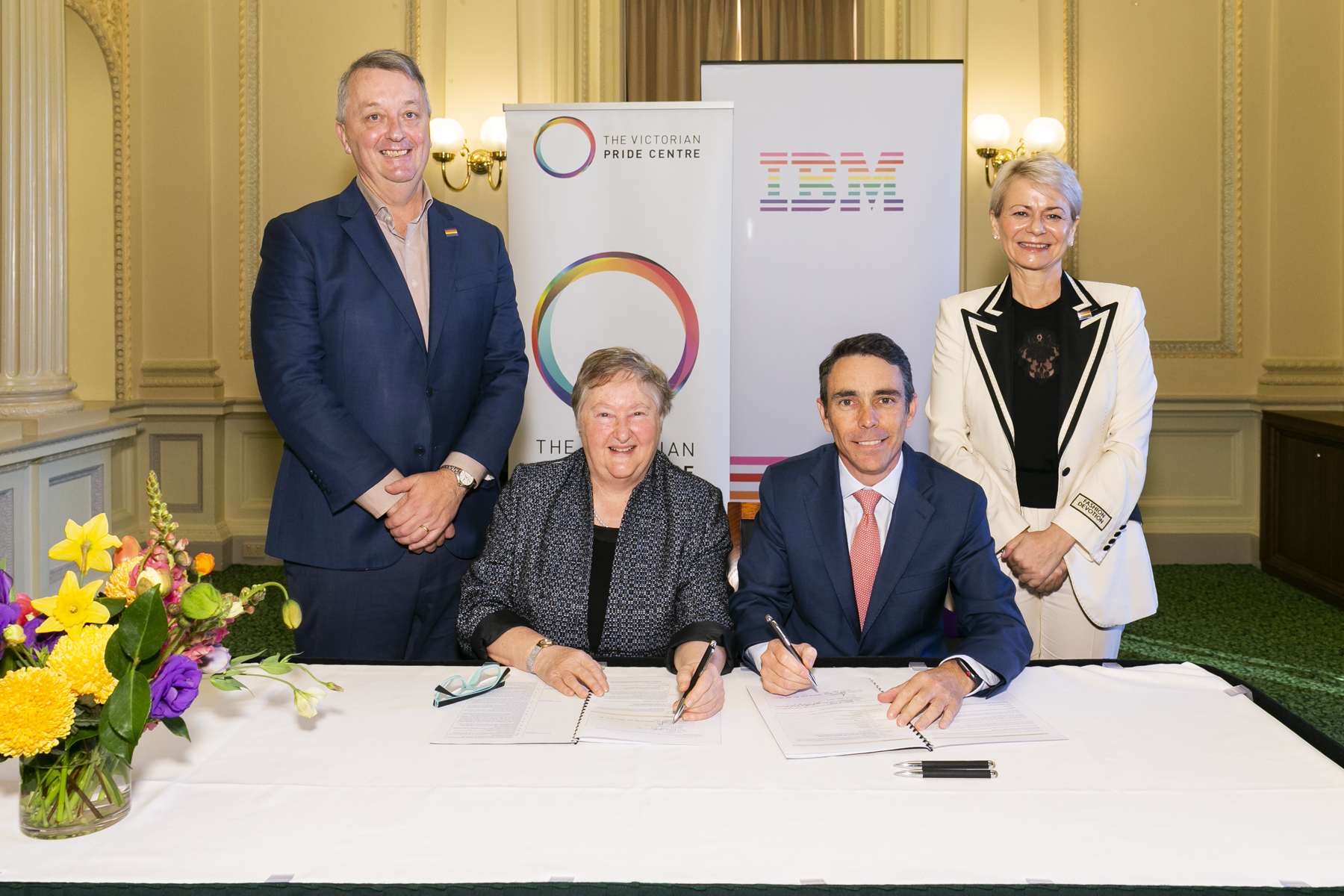 From left to right: Hon. Martin Foley, Minister for Equality, Mental Health and Creative Industries, Jude Munro AO, Chair of the Victorian Pride Centre, David La Rose, Managing Director, IBM A/NZ, Harriet Green, Chairman and CEO, IBM Asia Pacific