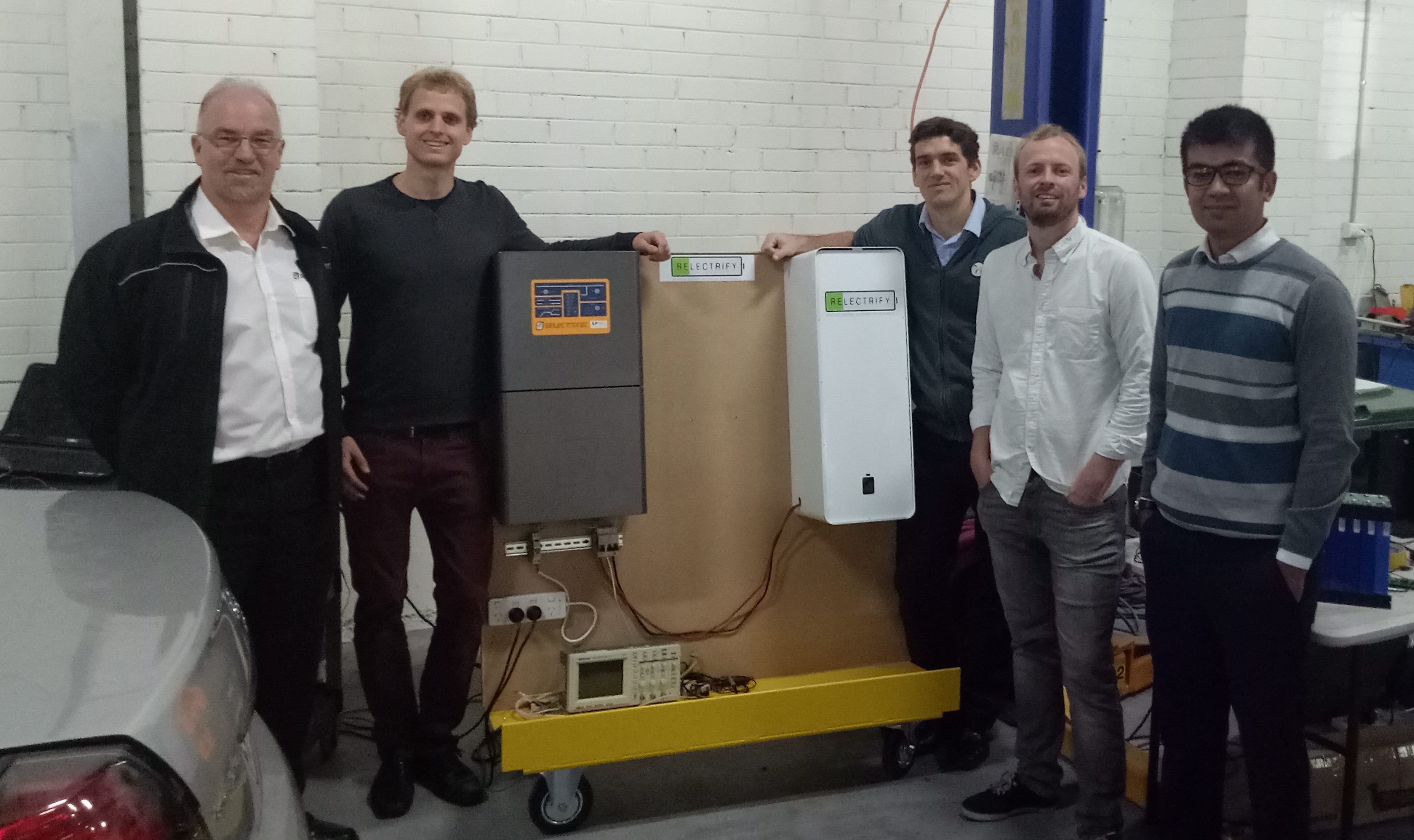 IBM Research Australia's energy storage optimisation project team. L-R: Rod Scott, CEO, Selectronic; Valentin Muenzel, Cofounder and CEO, Relectrify; Julian de Hoog, Research Scientist, IBM Research; Dan Crowley, Cofounder and CTO, Relectrify; Paras Karki, Electronics Engineer, Selectronic.