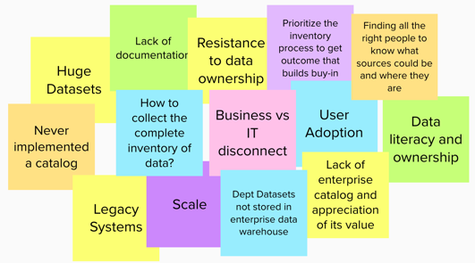 Challenges include: huge datasets, business vs. IT disconnect and legacy systems