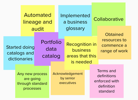 Data catalogues, business glossaries, senior sponsorship, automation and collaboration are critical