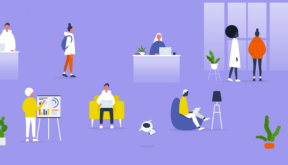 Illustration graphic of diverse workplace employees
