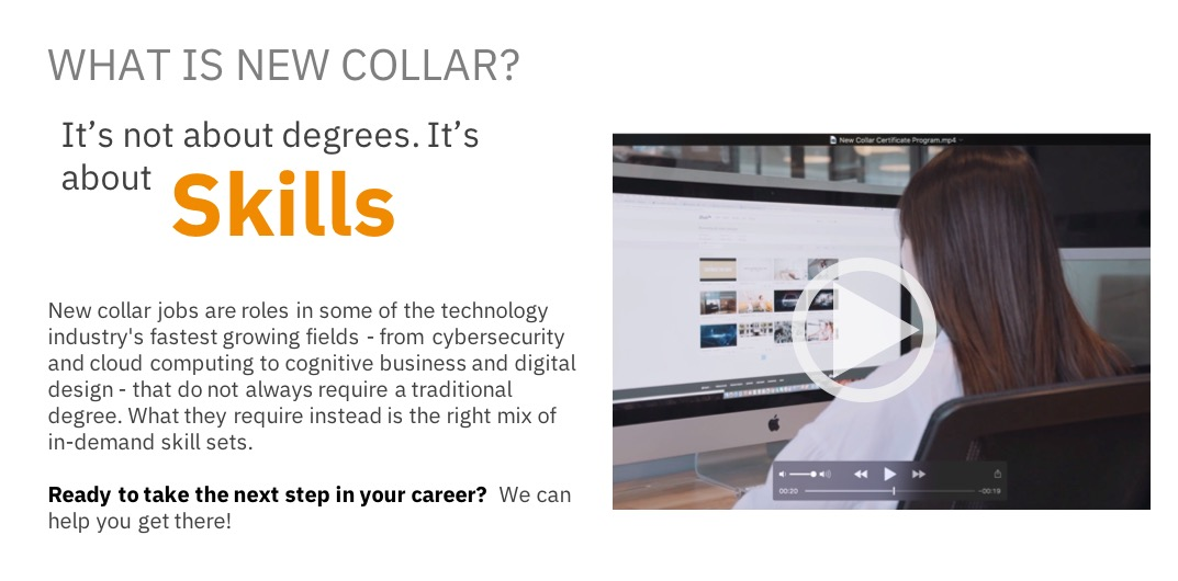 The Ibm New Collar Certificate Program Ibm Training And Skills Blog