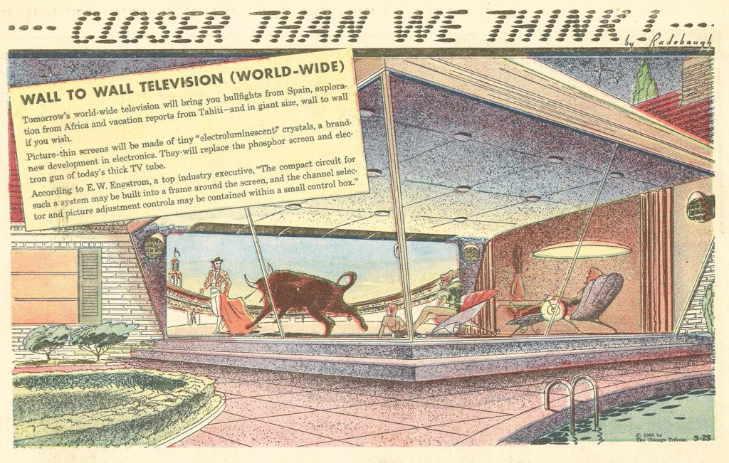 "WALL TO WALL TELEVISION (WORLD-WIDE), 1958: ""Picture-thin screens will be made of tiny 'electroluminescent' crystals, a brand-new development in electronics…"""