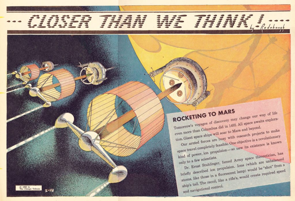 "ROCKETING TO MARS, 1958: ""All space awaits exploration. Giant space ships will soar to Mars and beyond…"""