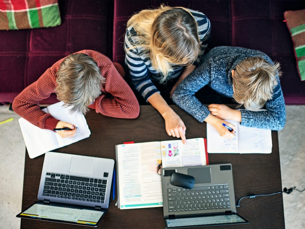 Family studying remotely during COVID