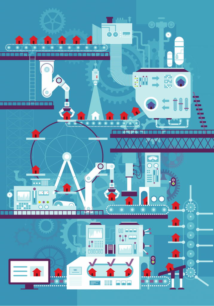Cognitive manufacturing cartoon. Image shows a factory with high-tech production components.