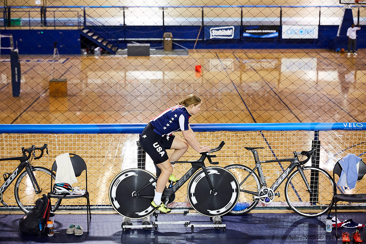 Team USA cyclist practices on fixed wheels