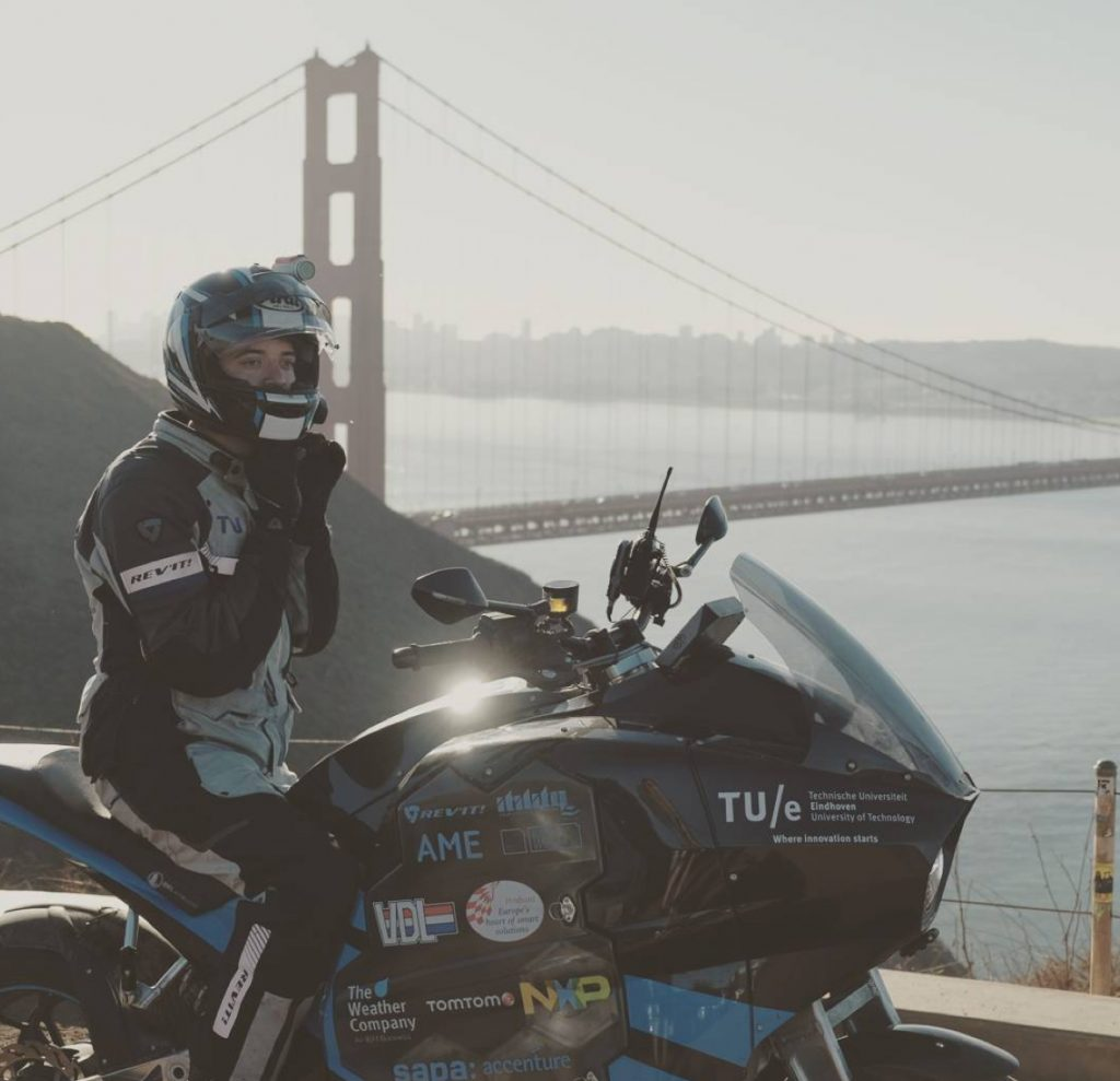 tomtom navigation guides stormpulse electric motorcylce to the golden gate bridge