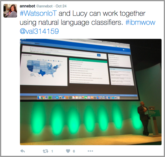 @annebot tweet about Lucy and natural language classifiers