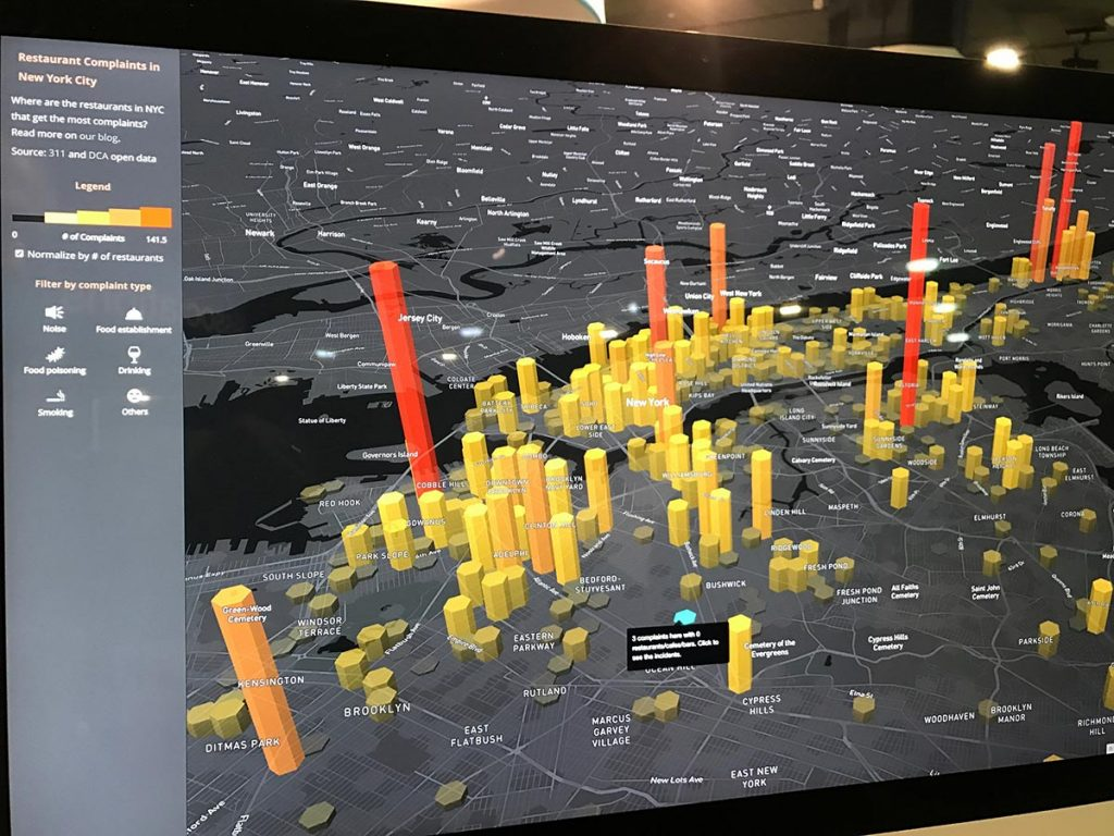 mapbox displays data maps visually on an iPad