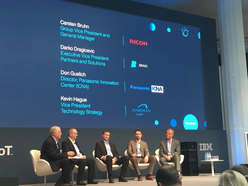 Carsten Bruhn, Ricoh' Darko Dragicevic, Bragi, Don Guelich, Panasonic, Kevin Hague, Harman join Bruce Anderson, IBM at the Watson IoT Genius of Things event's electronics panel