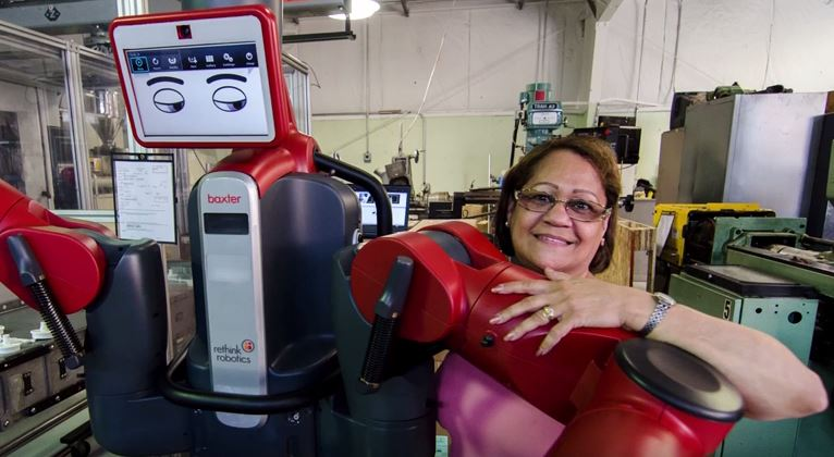 a Baxter robot – or a cobot. A cobot is a collaborative robot designed to work alongside a human