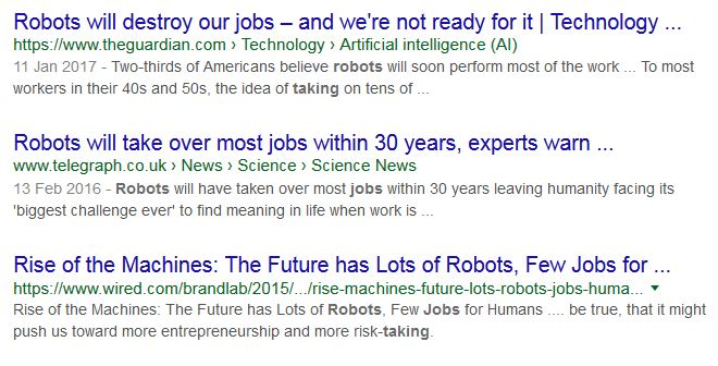 Robots will destroy our jobs headline