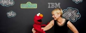 IBM's Harriet Green with Elmo from Sesame Street