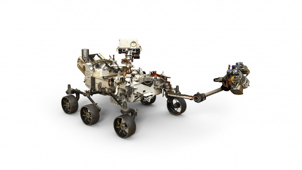 Based on the Curiosity rover, Mars 2020 is auto-sized at 10 ft. long. But at 2,314 lbs., it weighs less than a compact car.